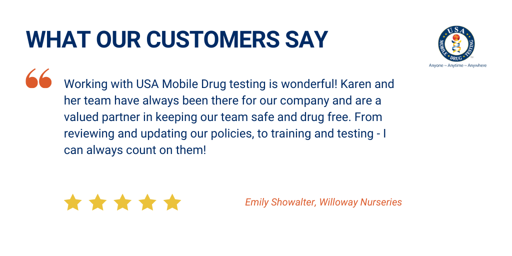 """Here at USA Mobile Drug Testing of Northeast Ohio, we are extremely thankful for the tremendous group of customers that we have the honor and pleasure of working with. Our partnerships with our customers go well beyond """"just"""" conducting drug testing. See testimonials from our satisfied customers here!"""